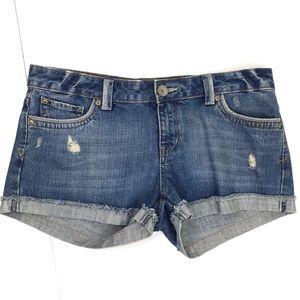 Aeropostale Distressed Denim Fold-over Jean Shorts